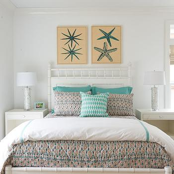 White Bamboo Bed, Cottage, bedroom, Lillian August