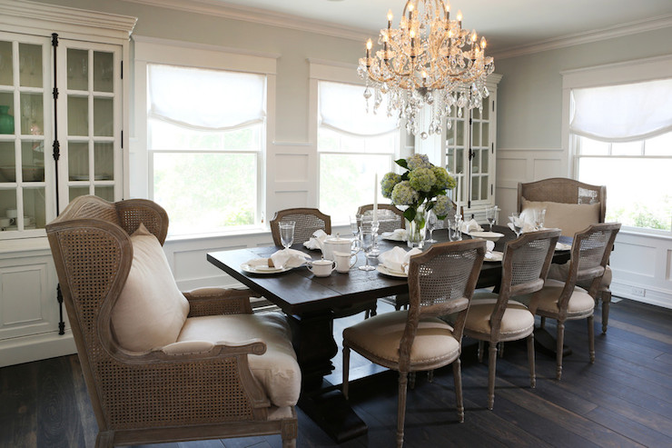 black and white french round back dining chairs - transitional