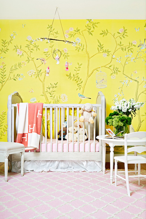 Nursery With Caddy Corner Crib Transitional Nursery