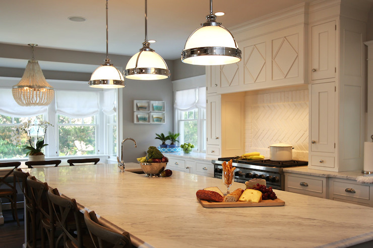 Clemson classic pendant design ideas stunning kitchen features a trio of restoration hardware classic clemson pendants illuminating a gray island with decorative trim moldings topped with white mozeypictures Image collections