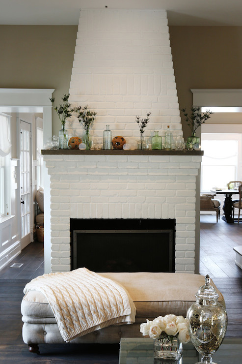 White Brick Fireplace Cottage Living Room Beach