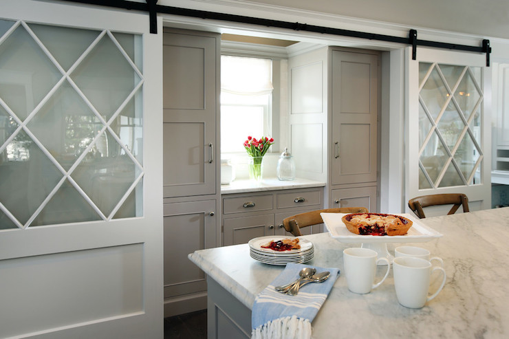 Gray Sliding Barn Doors Contemporary Kitchen Dillon