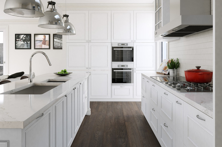 White Kitchen Oak Floor white kitchen with brushed oak engineered wood floors