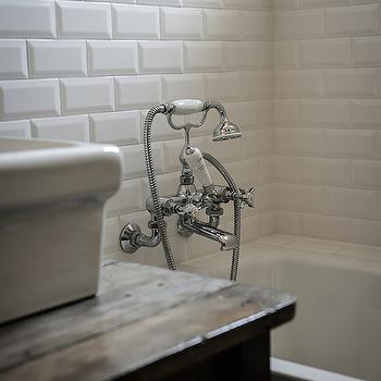 Beveled Subway Tiles, Transitional, bathroom, Royal Roulotte