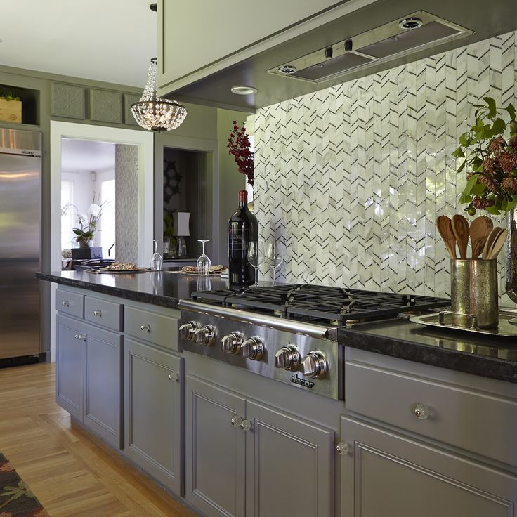 Calacatta Herringbone Backsplash Design Ideas