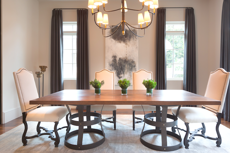 Wood And Iron Dining Tables Transitional Dining Room