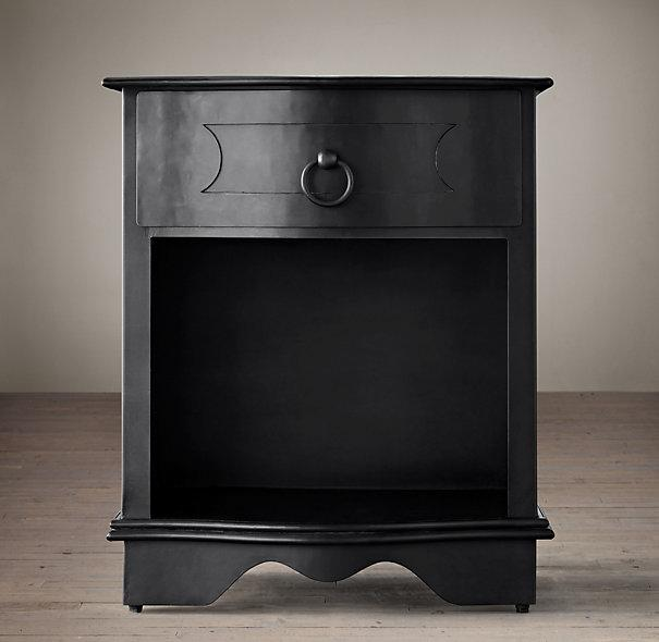 18th Century Baroque Curved Metal Closed Black Nightstand