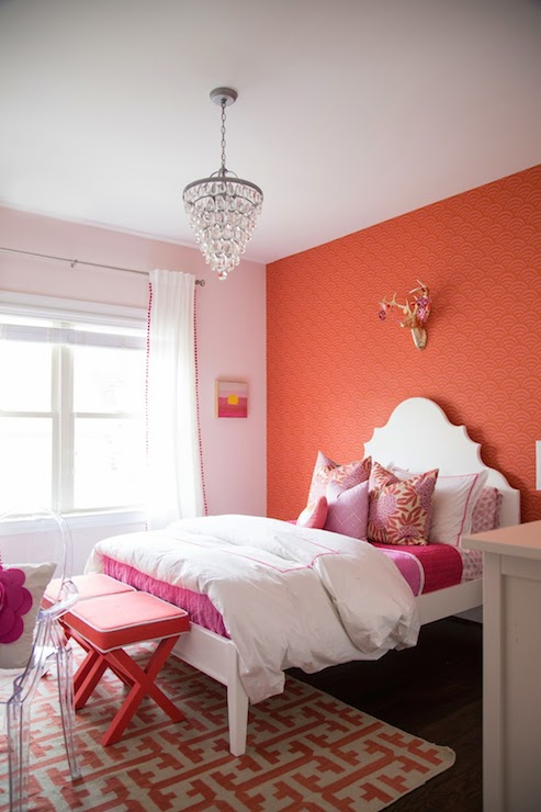 Coral Paint Colors Contemporary Girl S Room Benjamin