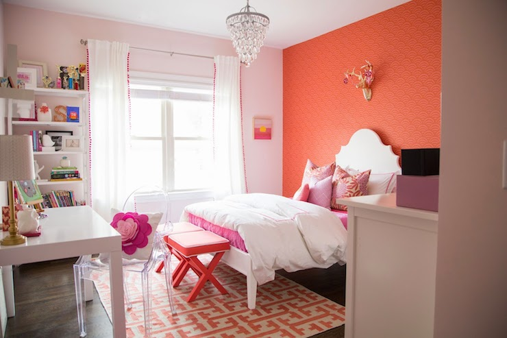 Coral Paint Colors Contemporary Girl 39 S Room Benjamin