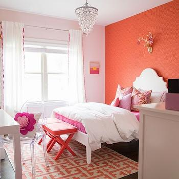 Kids Accent Walls, Contemporary, girl's room, Benjamin Moore Gentle Butterfly, Darling Darleen