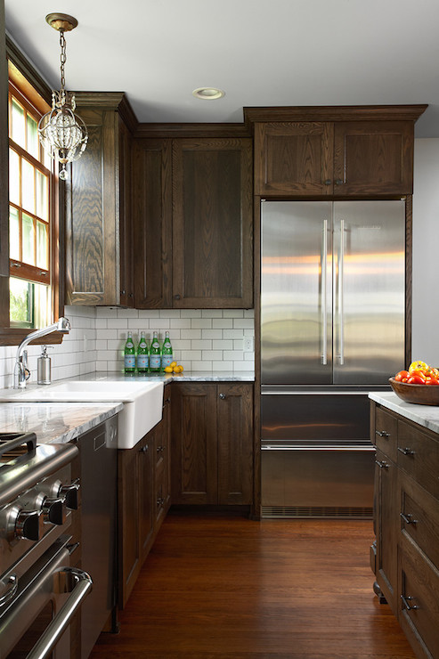 Brown Kitchen Cabinets Transitional Fiddlehead Design Group