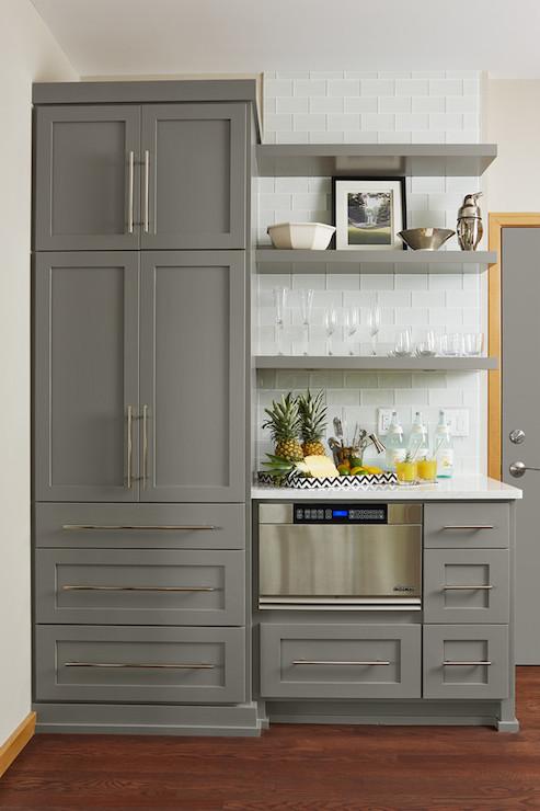 Gray Floating Shelves Transitional Kitchen Benjamin