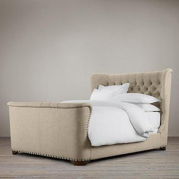Churchill Fabric Sleigh Bed With Footboard I Restoration Hardware
