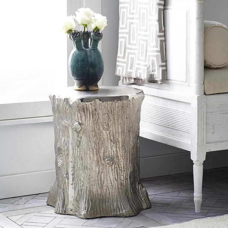 Bon Metallic Faux Bois Silver Stool. Wisteria.com · Teak Natural Tree Stump  Table