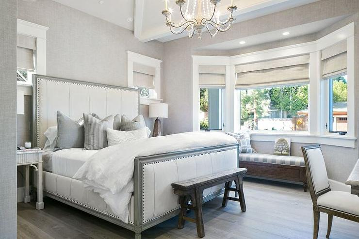 White and grey bedrooms transitional bedroom kelly for Grey and white bedroom designs