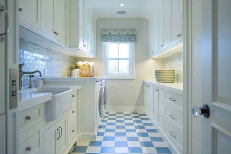 White And Blue Laundry Rooms Transitional Laundry Room