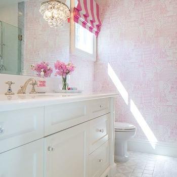 Pink Parisian Wallpaper, Transitional, bathroom, Kelly Nutt Design
