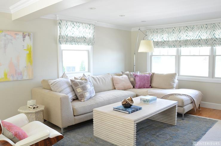 Zebra Roman Shades Transitional Living Room D2