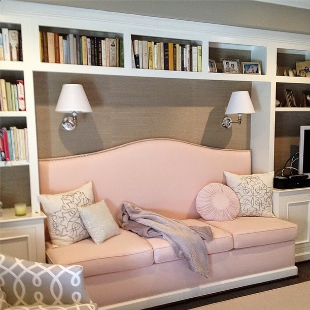 Pink Daybed - Transitional - den/library/office