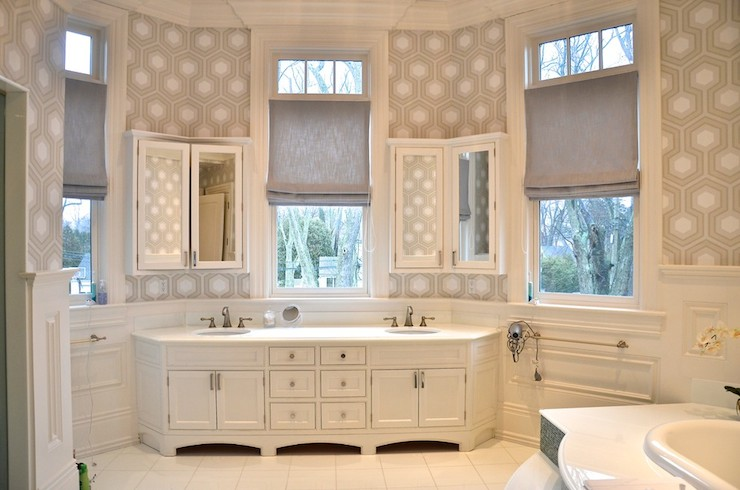 Stunning White And Gray Bathroom Centers On Bay Window Framed By David Hicks Hexagon Wallpaper Upper Walls Over Wainscoting Clad Lower Which