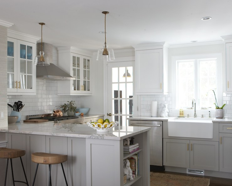 Bianco Macabus Quartzite Transitional Kitchen