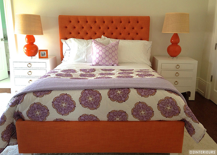 orange and purple girlu0027s room features an orange upholstered queen bed with tufted headboard dressed in purple scalloped sheets purple medallion bedding