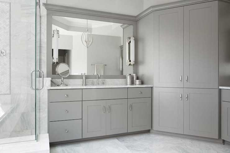 gray shaker bathroom cabinets transitional bathroom summit