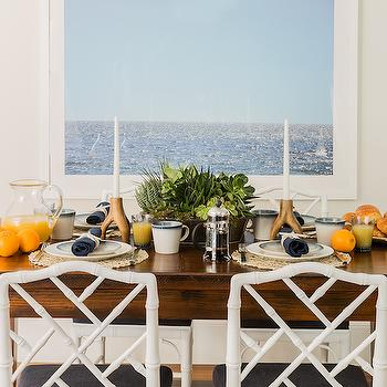 White Bamboo Dining Chairs, Transitional, dining room, Erin Gates Design