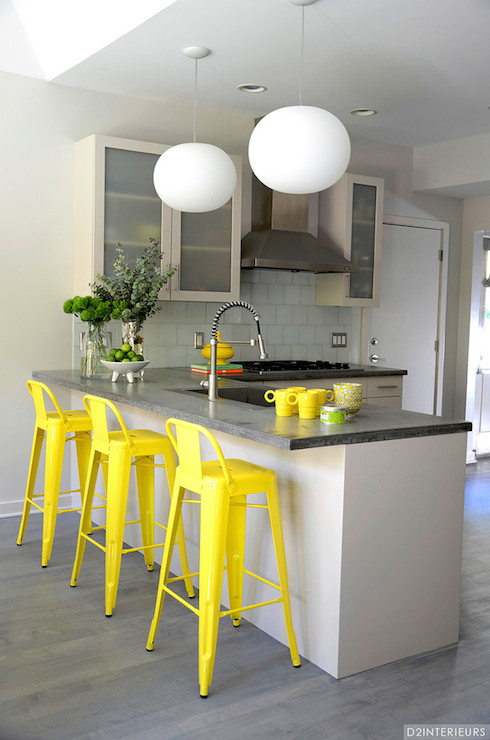 yellow counter stools