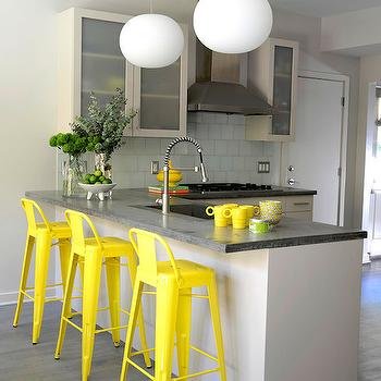 Yellow Counter Stools, Contemporary, kitchen, D2 Interieurs