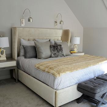 Cream Wingback Headboard, Contemporary, bedroom, D2 Interieurs