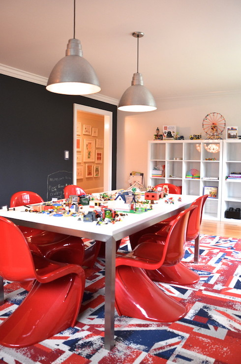 Red White And Blue Kids Rooms Contemporary Dining Room