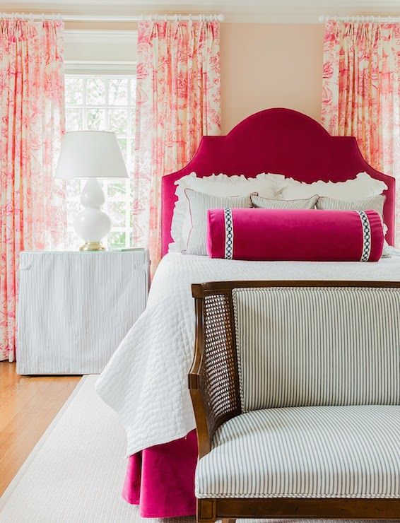 pink tufted bed  eclectic  bedroom  anne coyle interiors, Headboard designs