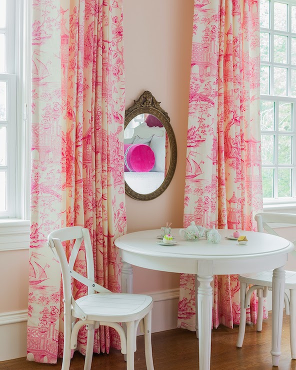 Pink Toile Curtains - Transitional - girl\'s room - Sabbe Interior Design