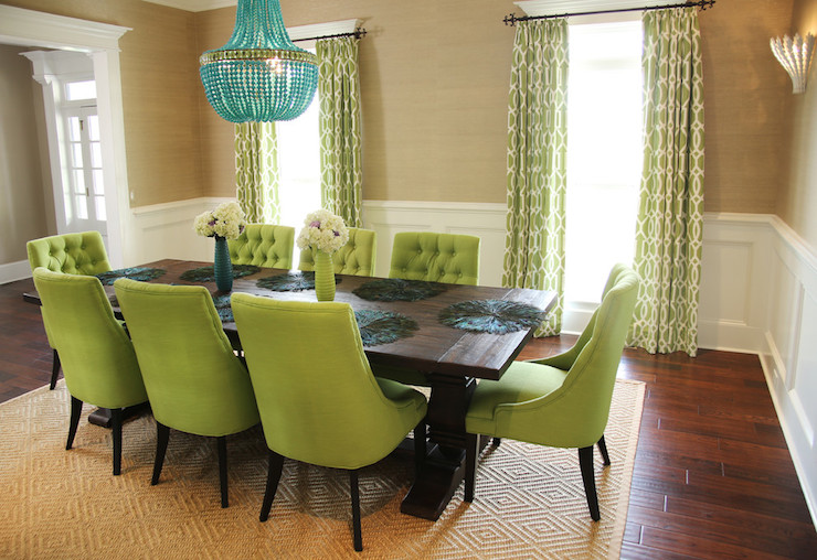 Green dining chairs contemporary dining room for Green dining room
