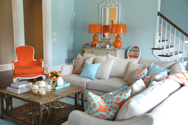 Blue and Orange Living Room, Contemporary, living room, Valspar La Fonda Mirage, Colordrunk Design
