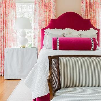 Pink Velvet Headboard, Transitional, bedroom, Sabbe Interior Design