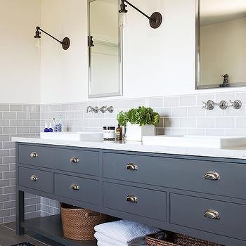 Gray Subway Tiles, Transitional, bathroom, Lonny Magazine
