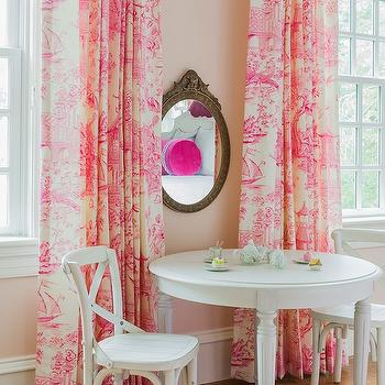 Pink Toile Curtains, Transitional, girl's room, Sabbe Interior Design