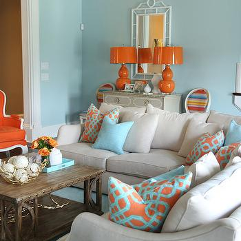 Blue and Orange Living Room & Orange And Blue Living Room Design Ideas