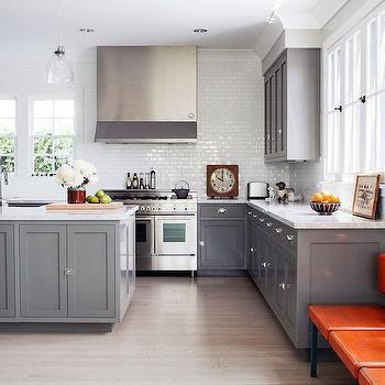 Gray Shaker Kitchen Cabinets, Contemporary, kitchen, Lonny Magazine