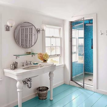 Turquoise Floors, Cottage, bathroom, Sherwin Williams Tidewater, House Beautiful