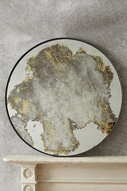 Color Washed Gold Circle Mirror