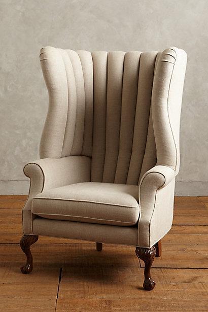 Linen English Fireside Gray Chair