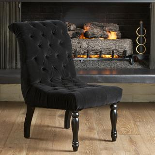 Christopher Knight Home Coleman Black Tufted Velvet Accent Chair, Overstock.com