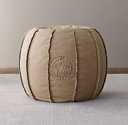 Distressed Canvas Taupe Round Pouf
