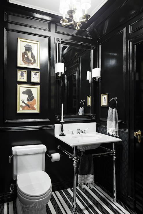 Black and White Damask Wallpaper - Traditional - bathroom - Austin ...