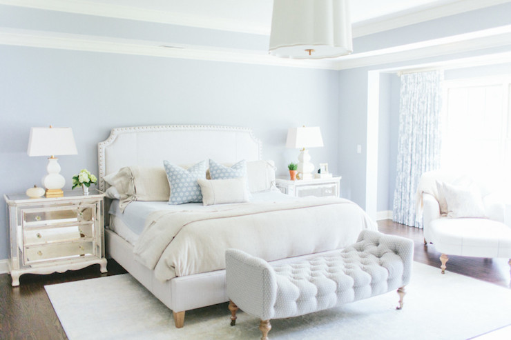 Ivory and Blue Bedrooms Transitional bedroom Kate  ~ Quarto Rustico Branco