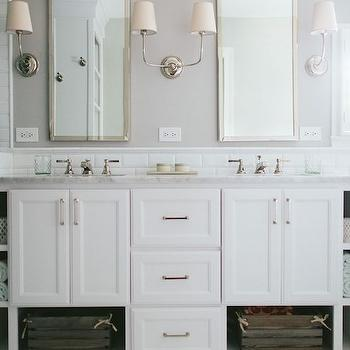 Vendome Double Sconce, Transitional, bathroom, Kate Marker Interiors