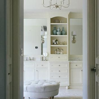 Ivory Built In Cabinets, Transitional, bathroom, Kate Marker Interiors